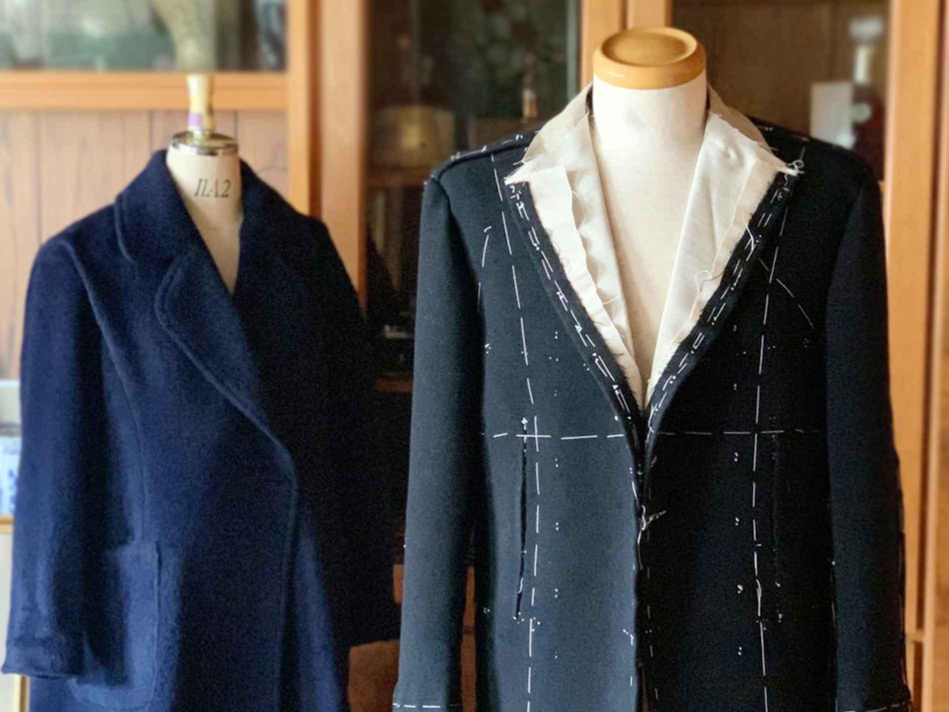 仮縫い段階のオーダースーツ